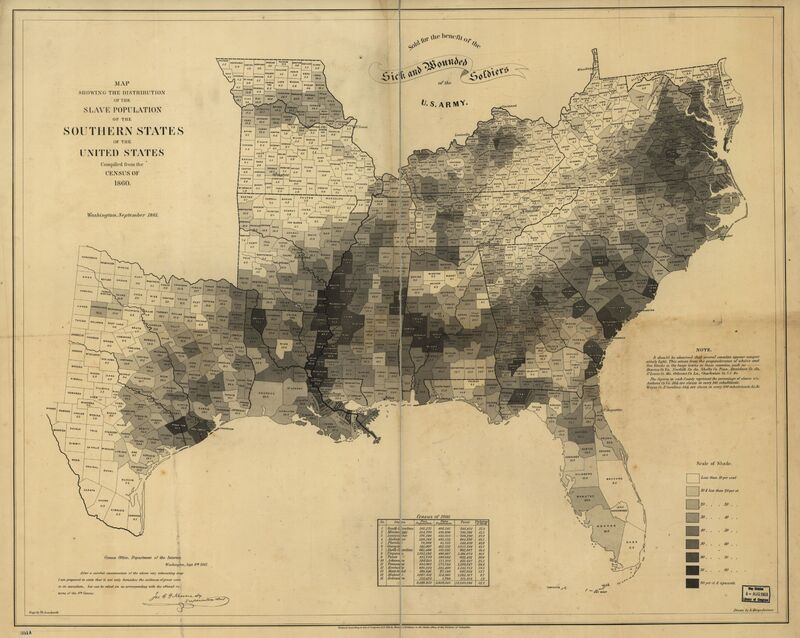 Map Showing the Distribution of the Slave Population of the Southern States of the United States. Compiled from the Census of 1860